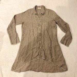 CP Shades   100% Linen Plaid Tunic Button Down M